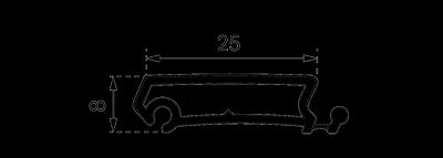 Пластиковый профиль Рехау с алюминиевой накладкой в разрезе