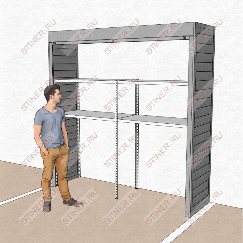 Купить роллетный шкаф с установкой в паркинге Москвы шириной 2 метра и высотой 2,5 метра